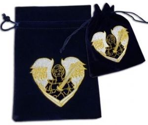 Velvet Tarot Card Bag: Navy with Archangel Michael design